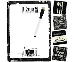 tableau magnetique cuisine set memo tableau cuisine du chef avec 4 magnets et crayon noir 3857