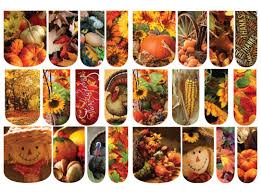 24 water slide nail decals fall thanksgiving photo realistic
