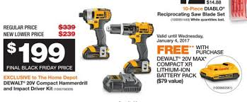 home depot dewalt black friday home depot dewalt 20v compact hammerdrill u0026 impact driver kit