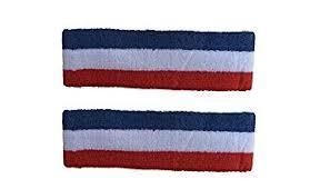 white and blue headband socktower 2 pieces headband sports athletic terry
