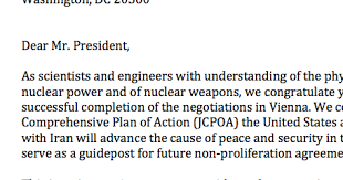 29 u s scientists praise iran nuclear deal in letter to obama