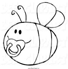 cartoon vector clip art of a black and white pudgy baby bee with a