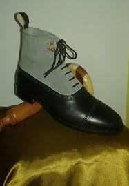 handmade mens ankle leather boots men navy blue leather boot men