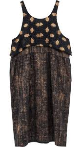 abstract pattern sleeveless dress wool flannel dark gray sleeveless dress printed in gold with