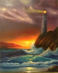 light house at night saatchi art lighthouse at night painting by nata new