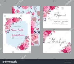 wedding floral template collectionwedding invitation thank stock