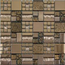 Metal Kitchen Backsplash Tiles Glass Mosaic Tile Crackle Art Wall Plated Metal Tile Kitchen
