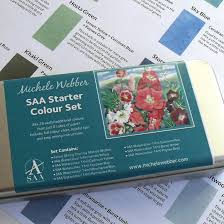 saa watercolour greens set with colour mixing leaflet michele webber