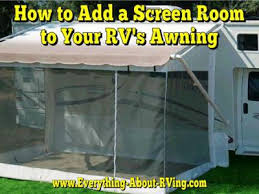 how do i add a screen room to my rv u0027s awning