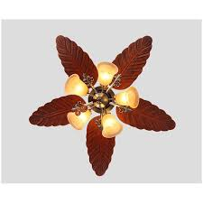 Ceiling Fans With 5 Lights Southeast Asia Country Style Led Lights Ceiling Wood Leaf Shape