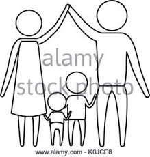 sketch silhouette of pictogram parents holding hands up and baby