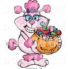 halloween basket vector cartoon clip art of a pink poodle holding a pumpkin basket