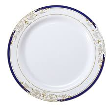 white plastic dinner plates blue gold trim plastic plates