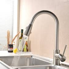 brushed nickel kitchen faucet with stainless steel sink amazing