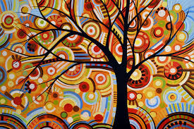 abstract modern tree landscape thoughts of autumn by