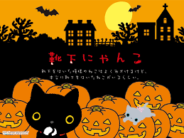 halloween cats background vector seamless pattern kawaii halloween design stock vector