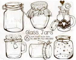 Mason Jar String Lights Glass Jars Clipart Mason Jars Clipart Vintage Clipart Jar