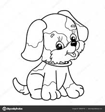 coloring outline cartoon dog cute puppy sitting pet