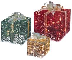 3 glittering gift box lighted yard decoration
