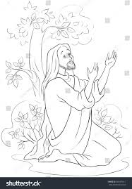 agony garden coloring page available colored stock vector