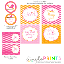 bird printable baby shower birthday party dimple prints shop