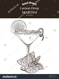 lemon drop martini lemon drop martini composition vector sketch stock vector