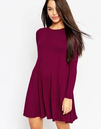 asos swing dress with long sleeves and seam detail in purple lyst