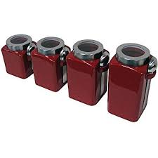 red kitchen canister set amazon com mainstays red stonewear kitchen canister set 4pc