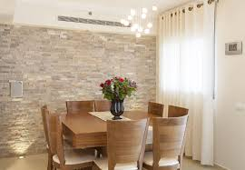 Dining Room Stone Accent Wall Green Dining Chairs Open Plan - Dining room accent wall
