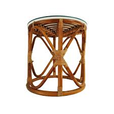 Vintage Rattan Patio Furniture - vintage rattan table bohemian wicker glass top table bamboo