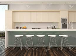 modern open plan apartment kitchen interior with a counter with