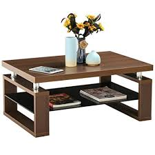 Storage Living Room Tables Yaheetech Living Room Rectangular Wood Top Coffee