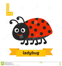 letter l with funny ladybug stock vector image 50888045