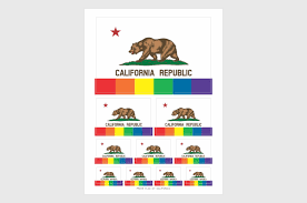 California Republic Flag California Pride Flag Stickers Weatherproof Permanent Adhesive