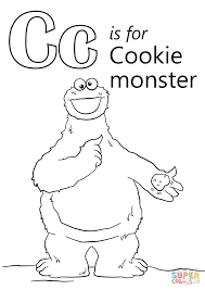 letter cookie monster coloring free printable