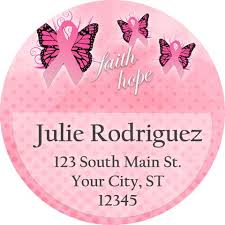 breast cancer awareness pink butterfly personalized address