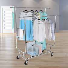 clothing rack laundry clothes double rail rolling outdoor indoor