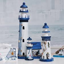 the mediterranean style handmade wooden lighthouse ornaments