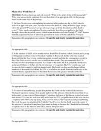 main idea worksheet 5 4th 8th grade worksheet lesson planet