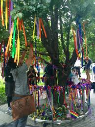9 11 survivor tree covered in rainbow ribbons to honor orlando