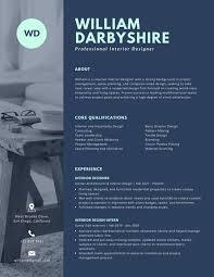 Creative Resume Templates For Mac Dark Blue With Photo Interior Designer Creative Resume Templates