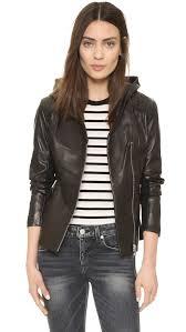 hooded motorcycle jacket soia u0026 kyo beka leather hooded jacket in black lyst