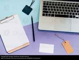 top view flat lay style of worksapce desk a royalty free stock