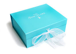 personalized box turquoise folding gift box with white logo and organza ribbon