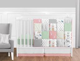 Design Crib Bedding Sweet Jojo Designs 11 Coral Mint And Grey