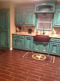 kitchen example of distressed turquoise kitchen cabinet cabinets