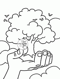 tree on hand earth day coloring page for kids coloring pages