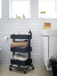 raskog cart ideas awesome white bathroom tiled with modern vanity set and decorative