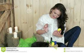 Decorating Easter Eggs Video by Beautiful Young Woman Painting Easter Eggs Wooden Basket Full Of