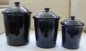 hlc fiesta 3 piece canister set cobalt blue large medium small